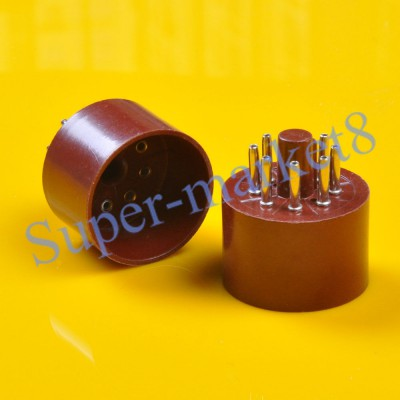 Brown Red Vintage Tube 8pin Octal Base Socket.jpg